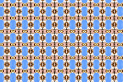 Monica. Textile pattern in a blue and golden mixture of colours with interesting geometries Stock Photos