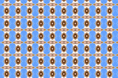 Monica 75. Textile pattern in a blue and golden mixture of colours with interesting geometries Stock Photos