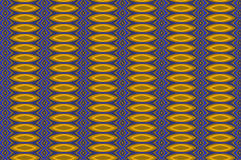 Monica 80. Textile pattern in a blue and golden mixture of colours with interesting geometries Stock Photography