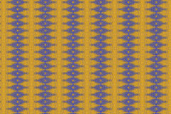 Monica 81. Textile pattern in a blue and golden mixture of colours with interesting geometries Stock Image