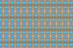 Monica 10. Textile pattern in a light blue and golden mixture of colours with interesting geometries Stock Photography
