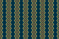 Monica. Textile pattern in turquoise and golden  mixture of colours with interesting geometries Stock Photography