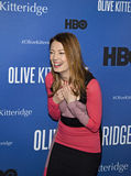 """Monica West. Actress Monica West arrives on the red carpet for the New York premiere of """"Olive Kitteridge.""""  This is a 4-part drama series on HBO, the Royalty Free Stock Images"""