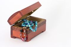 Monili di legno del cofanetto Immagine Stock