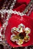 Monili lucidi sopra i petali di rosa rossi Immagine Stock