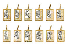 Monili - simboli dello zodiaco fotografie stock