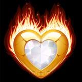 Monili sotto forma di cuore in fuoco Immagini Stock Libere da Diritti