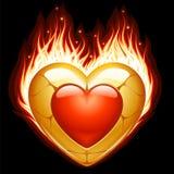Monili sotto forma di cuore in fuoco Fotografia Stock