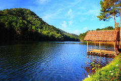Moning in Pang-Ung Lake,North of Thailand Royalty Free Stock Photo
