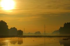 Moning. Photo shows a pond in the morning. The picture was taken in Tychy.nWidaci the pond remains floating in the mist royalty free stock photography