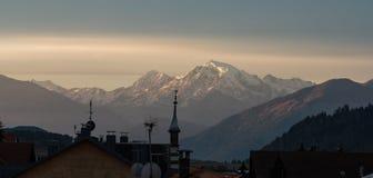 Moning scene of the Ortler peak on background. Italian Alps, Italy, Europe. royalty free stock image