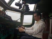 Monino, Russia - 08.08.2018: Cockpit combat aircraft of bombardirovshik royalty free stock image