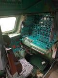 Monino Ryssland - 08 08 2018: Cockpitstridsflygplan av bombardirovshik royaltyfri fotografi
