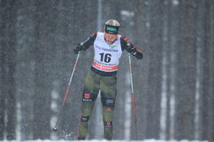 Monique Siegel - cross country skiing. Monique Siegel from Germany in women 10 km race within cross country world cup held on Nove Mesto na Morave on 23.1.2015 Royalty Free Stock Photos