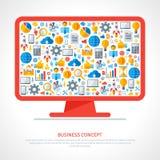 Moniteur avec les icônes plates d'affaires à l'intérieur Image stock