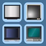 Moniteur d'affichage à cristaux liquides d'écran de vecteur de TV et carnet, tablette, rétros calibres Les appareils électronique Photos libres de droits