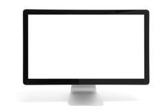 Moniteur d'ordinateur avec l'écran blanc images stock