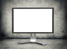 Moniteur d'ordinateur avec l'écran blanc Photo stock