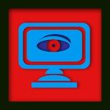 Moniteur d'ordinateur avec l'oeil d'espion Photographie stock libre de droits