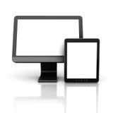 Moniteur d'ordinateur avec la tablette Photographie stock libre de droits
