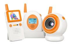 Moniteur de bébé et came audio de bébé rendu 3d Images stock