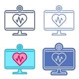 Moniteur de bureau avec le symbole de coeur Contour i de vecteur de télémédecine illustration de vecteur