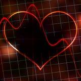 Moniteur de coeur abstrait sur un fond rouge foncé. Photo libre de droits