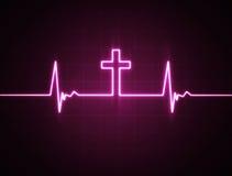 Moniteur de coeur avec la croix illustration de vecteur