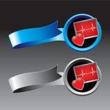 Moniteur de coeur sur des bandes de bleu et d'argent Images stock