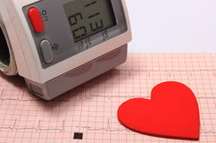 Moniteur de forme de coeur et de tension artérielle sur l'électrocardiogramme Images stock