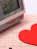 Moniteur de forme de coeur et de tension artérielle sur l'électrocardiogramme Images libres de droits