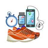 Moniteur de fréquence d'espadrille de sport et cardiaque, téléphone, et chronomètre rouges Photos stock