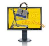 Moniteur et Internet Shopp d'affichage à cristaux liquides Photo stock