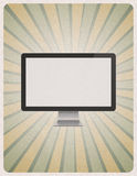 Moniteur moderne d'ordinateur sur le rétro fond Image stock