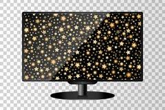 Moniteur moderne réaliste de TV d'isolement Fond brillant abstrait d'or d'étoiles filantes illustration de vecteur