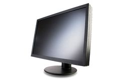 Monitor 1. Black screen with a circular stand Stock Image