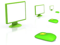 Monitor. LCD monitor with mouse. 3D Royalty Free Stock Photo