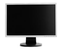 Monitor. Professional widescreen computer monitor. Isolated over white background royalty free stock photo