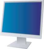 Monitor. A flat screen monitor with a blue background isolated