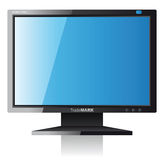 Monitor. Glossy black digital monitor - illustration stock illustration