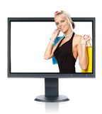 Monitor. LCD monitor isolated over a white background Stock Photos