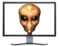 Monitor with 3D alien head Royalty Free Stock Photo