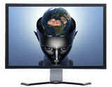 Monitor with 3D earth in 3D cyborg girl head Royalty Free Stock Photography