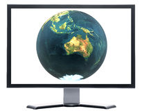 Monitor with 3D globe Royalty Free Stock Image