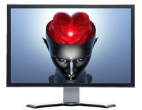 Monitor with 3D heart in 3D cyborg girl head Royalty Free Stock Photo