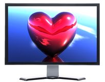 Monitor with 3D hearts Stock Photos