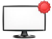 Monitor abstracto de la TV con la etiqueta roja Fotografía de archivo libre de regalías