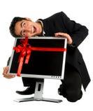 Monitor acertado de la compra del hombre de negocios Imagen de archivo libre de regalías