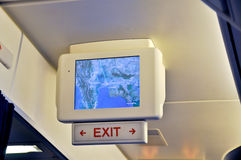 Monitor in airplane Stock Photo