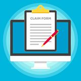 Monitor or All in one pc flat design with clipboard and claim form popped above the screen icon signs vector illustration. vector illustration